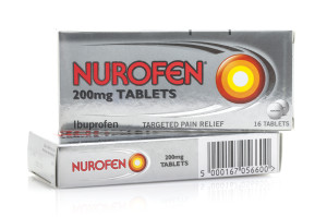 SWINDON, UK - MAY 3, 2015: Two Boxes of Nurofen, Nurofen is an Ibuprofen based tablet used for relieving pain, fever and inflammation
